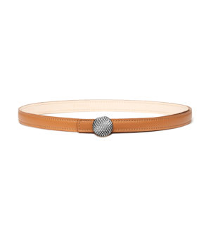 women golf belt - Camel leather-palladium-decayeux-paris