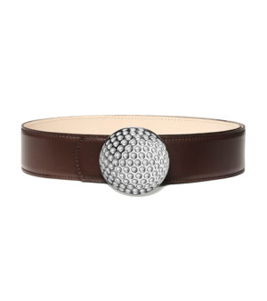 Golf 40mm leather belt, golf ball buckle - Palladium finish - decayuex paris