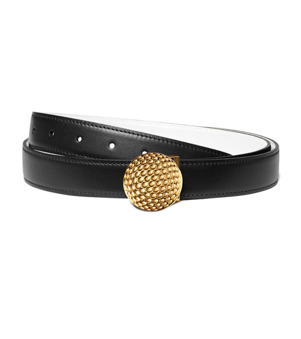 Golf 30mm leather belt, golf ball buckle - Gold finish