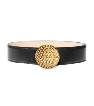 Golf 40mm leather belt, golf ball buckle - Gold finish