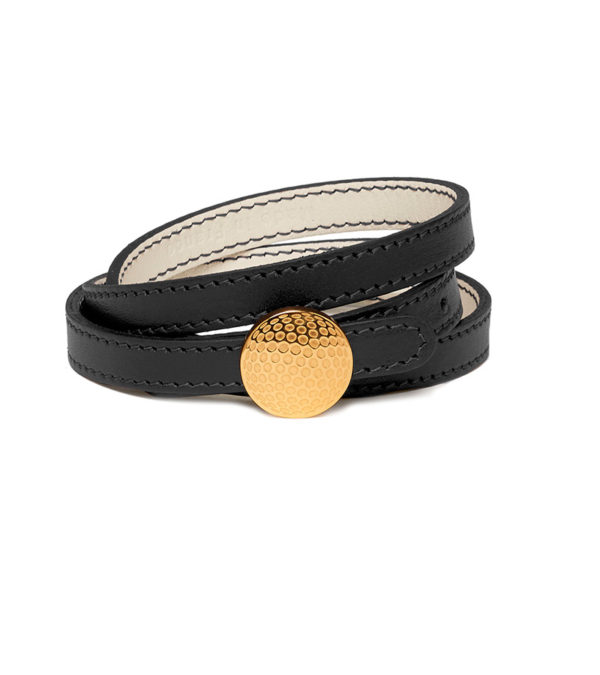 Triple row leather bracelet with dimpled clasp - Gold finish