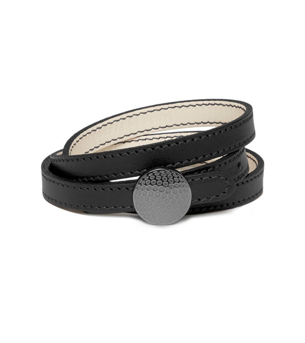 Triple row leather bracelet with dimpled clasp - Titanium finish