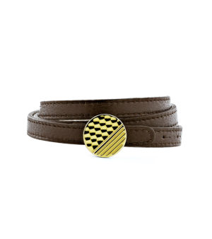 Triple row Leather Bracelet with Graphic Clasp - Gold finish-triple-tour-homme-de-luxe-en-cuir-marron-finition-or-decayeux-paris