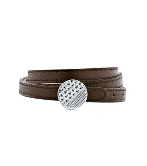 Triple row Leather Bracelet with Graphic Clasp - Palladium finish