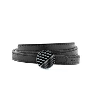 Triple row Leather Bracelet with Graphic Clasp - Titanium finish