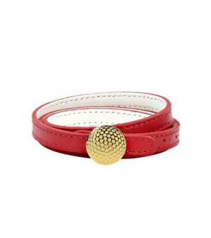 Triple row reversible leather bracelet with dimpled clasp - Gold finish