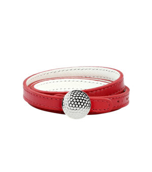 Triple row reversible leather bracelet with dimpled clasp - Palladium finish