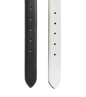 White/black leather for golf ball buckle & chic Decayeux Paris