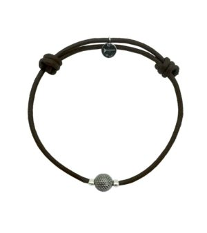 Bracelet cordon marron finition ruthénium DECAYEUX PARIS
