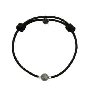 Bracelet cordon noir finition ruthénium DECAYEUX PARIS
