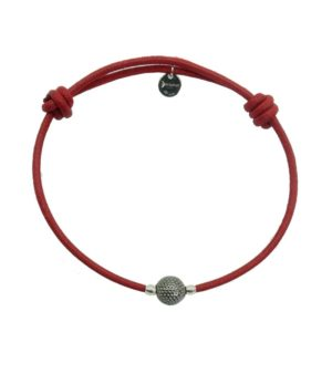 Bracelet cordon rouge finition ruthénium DECAYEUX PARIS